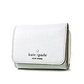 美國正品 KATE SPADE 銀字荔枝紋皮革三折釦式短夾-米灰色【現貨】