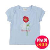 【愛的世界】彈性圓領罌粟花印圖短袖T恤-藍/2~8歲-台灣製- ★春夏上著