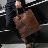 英倫復古商務手提包休閒時尚瘋馬皮郵差單肩斜跨電腦包潮 可可鞋櫃