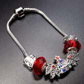 串珠手鍊潘朵拉元素925純銀-水晶飾品鑲鑽聖誕樹生日情人節禮物女配件73bo84[時尚巴黎]