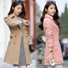 風衣女中長款韓版春季2020新款修身顯瘦百搭純色收腰外套「時尚彩紅屋」