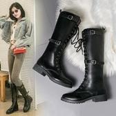 馬丁靴女秋冬新款高筒騎士靴過膝長靴女粗跟網紅瘦瘦靴子中跟 可然精品