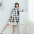 洋裝 漫步小徑布蕾絲肩釦格紋棉麻洋裝 單色-小C館日系
