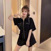 連身褲 子女新款夏季時尚韓版短袖高腰網紅休閒闊腿工裝連衣褲 - 巴黎衣櫃