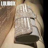 晚宴手拿包LOLIBOX定制新品水鉆閃光女手拿包鏈條斜跨晚宴禮服包新娘宴會包可卡衣櫃 免運