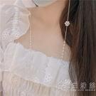 小清新淡水珍珠項錬長款花朵面口罩錬防丟中國古風面紗掛繩眼鏡錬 小時光生活館