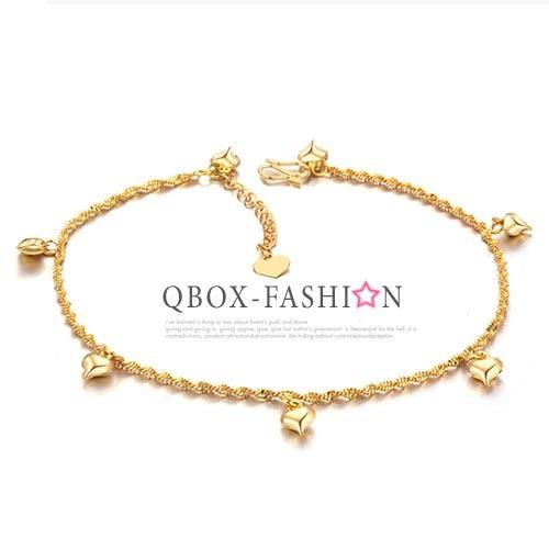 《 QBOX 》FASHION 飾品【W2016N715】 精緻秀氣吊飾愛心鍍18K金腳鍊/腳環