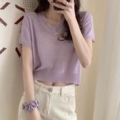 針織衫 2020新款夏季薄款短袖冰絲顯瘦紫色上衣修身V領短款針織衫T恤女潮「草莓妞妞」