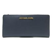 MICHAEL KORS 深藍色防刮牛皮金釦對折式長夾附卡夾【二手名牌 BRAND OFF】