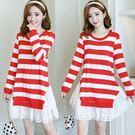 *漂亮小媽咪*韓國 假兩件 拼接 條紋 長袖 布蕾絲 荷葉裙 魚尾裙 孕婦裝 孕婦洋裝 D1685