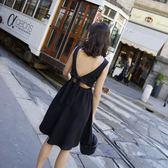 (批發價不退換)9942#夏季新款V領初戀裙后背露空系帶無袖小黑裙連身裙G-326-B日韓屋