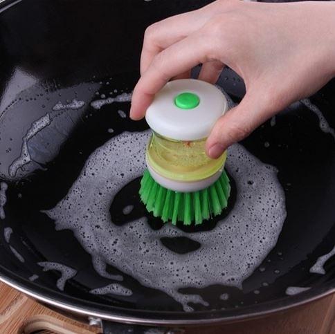 [拉拉百貨]按壓洗碗刷 便利洗鍋刷 按壓式洗碗精 廚房用品創意清潔刷(不挑色-隨機出貨)