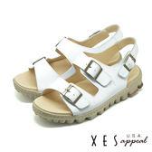 XES 兩段式涼鞋 有型好穿 三處魔鬼氈 真皮耐穿 厚底涼鞋_白色