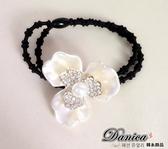 髮束 現貨 韓國連線 韓國熱賣氣質甜美 小香風 雙層花朵 珍珠水鑽 髮飾 S7256 Danica 韓系飾品