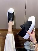 【榮耀3C】樂福鞋 樂福鞋女一腳蹬彈力布增高休閒貝殼頭厚底鬆糕歐洲站百搭單鞋平底