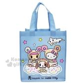 〔小禮堂〕Hello Kitty Tokidoki 直式不織布手提購物袋《藍.甜甜圈》環保袋.提袋 0840805-13249