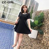 中大尺碼 氣質簍空露背A字擺洋裝-適XL~4L《 62839 》CC-GIRL