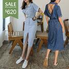 PUFII-洋裝 鏤空縮腰牛仔洋裝-0620 現+預 夏【CP16916】