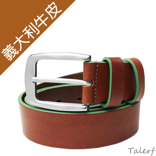 TALERF馬卡龍個性單層皮帶(綠色/共6色)-情侶-男 /真皮 牛皮/台灣製造