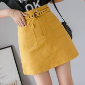 出清288 韓國風ins洗水高腰牛仔裙腰帶口袋單品短裙