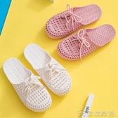 涼鞋 包頭涼鞋女夏仙女風新款夏季洞洞鞋時尚平底ins潮女時裝涼鞋(快速出貨)