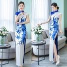越南旗袍洋裝 2021年春季新款長款改良版年輕款少女年會華服演出旗袍連身裙