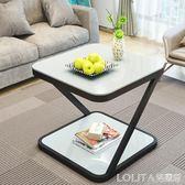 北歐迷你角幾簡約現代創意鋼化玻璃小茶幾臥室小方桌沙發邊幾ATF LOLITA