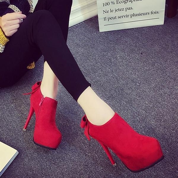 2020秋冬超高跟鞋單鞋 防水台短靴 紅色婚鞋性感蝴蝶結裸靴 及踝靴潮