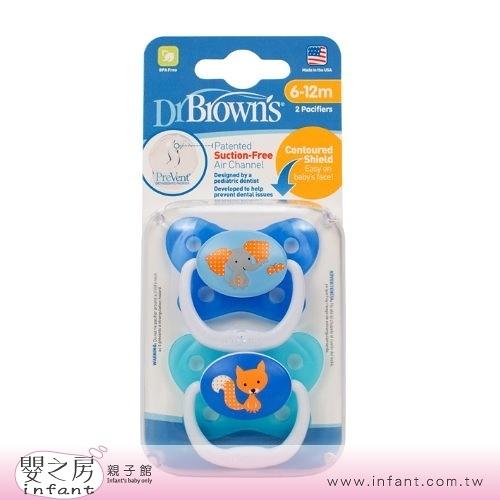 【嬰之房】Dr. Brown s布朗博士 PreVent功能性安撫奶嘴 6-12M(2入-藍)