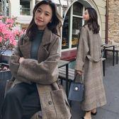 長款大衣 冬季韓版bf風格子呢大衣女2018新款寬松系帶過膝長款毛呢外套加厚 霓裳細軟