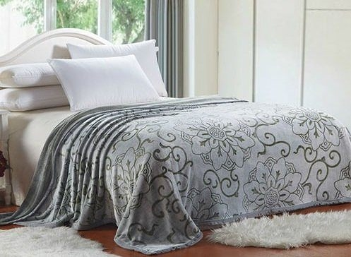 D110秋冬法蘭絨雕花蓋毯