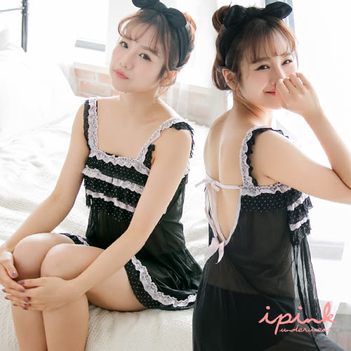 出清品-i PINK 甜漾糖衣 網紗美背綁帶連身裙裝睡衣(黑)
