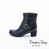 大尺碼女鞋 夢想店 MIT台灣製造內外全真皮皮帶扣中跟短靴5cm(41-46)【JD3028】黑色