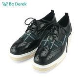 【Bo Derek 】英倫透紗格紋厚底牛津鞋-黑色
