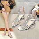 魚口鞋 粗跟水鉆涼鞋女2021新款夏季中跟時尚百搭旗袍走秀禮服魚嘴高跟鞋