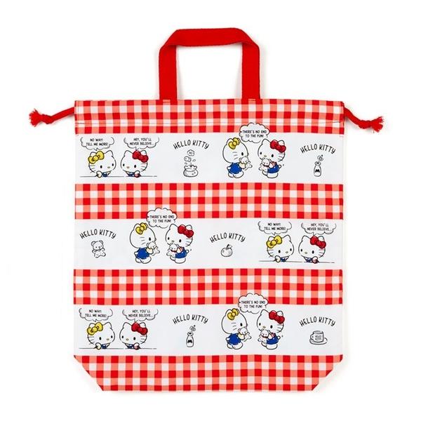 小禮堂 Hello Kitty 日製 棉質束口手提袋 束口鞋袋 水桶包 縮口袋 (紅白 格紋) 4550337-73406