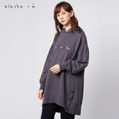 a la sha+a  韓風特殊袖型繭型開叉LOGO帽T
