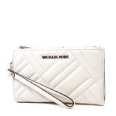 美國正品 MICHAEL KORS 銀字衍縫幾何小羊皮對折釦式手掛手拿/手機包-白色【現貨】