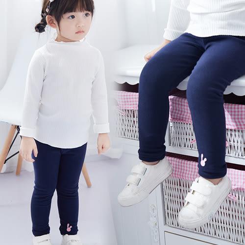 長褲 女童刺繡小兔子內裡加厚內搭褲長褲 W65063