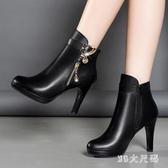 大碼裸靴冬款韓版細跟圓頭高跟短靴黑色百搭防水臺時尚馬丁靴 XN5496『MG大尺碼』