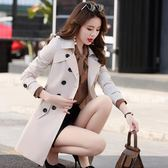 風衣女中長款新款春秋季韓版矮個子百搭大碼修身外套顯瘦大衣    韓小姐