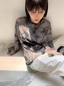 透膚上衣 3cut 水泥灰扎染透視網紗打底衫休閒港風復古女上衣韓版百搭 ins 秋季新品