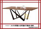 【全德原木】767202-7              A-019黑鐵+自然邊6尺餐桌-胡桃  北歐風-工業風-鄉村風