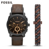 FOSSIL Machine 深褐色皮革手錶和手環套組 男 FS5251SET