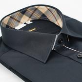 【金‧安德森】經典格紋繞領門襟鑲格黑色窄版長袖襯衫