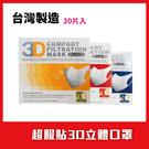 台灣製 美國機構認證口罩 超服貼3D立體 成人兒童口罩(30片/盒)