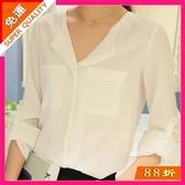 新款韓版女士中大尺碼時尚休閒襯衣打底雪紡白襯衫上衣 超值價