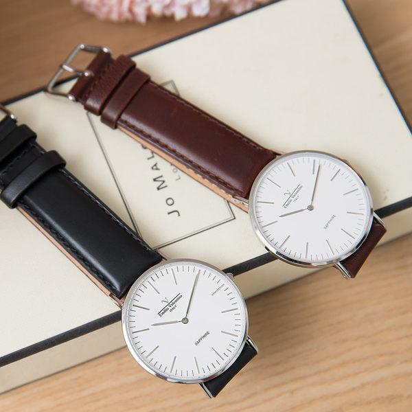 《好時光》Emilio Valentino 范倫鐵諾 超薄 大錶面簡約線條刻度 男錶 女錶-皮錶帶- 激似DW 水晶鏡面