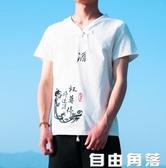 中國風t恤亞麻短袖刺繡禪服佛系盤扣大碼夏季男裝棉麻復古風上衣 自由角落