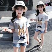 女童短袖t恤時尚洋氣夏季兒童半袖上衣純棉中大童女卡通體恤韓版 至簡元素